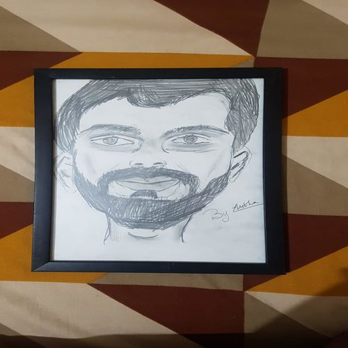 Virat Kohli,11.82 and 7.88 inches,figurative painting,painting for living room,bed room,kids room,for office and dining room.