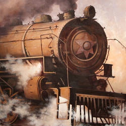 nostalgia of steam locomotives 14, 57 x 38 inch, kishore pratim biswas,57x38inch,canvas,landscape paintings,paintings for dining room,paintings for dining room,acrylic color,GAL0106032116