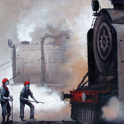 nostalgia of steam locomotives 01, 44 x 33 inch, kishore pratim biswas,44x33inch,canvas,paintings,landscape paintings,impressionist paintings,paintings for dining room,paintings for living room,paintings for office,paintings for hotel,paintings for school,acrylic color,GAL0106032118