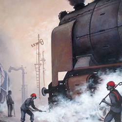 nostalgia of steam locomotives 09, 44 x 33 inch, kishore pratim biswas,44x33inch,canvas,paintings,abstract paintings,cityscape paintings,landscape paintings,modern art paintings,conceptual paintings,impressionist paintings,paintings for dining room,paintings for living room,paintings for office,paintings for hotel,paintings for school,acrylic color,GAL0106032119