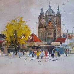 birmingham noon, 20 x 14 inch, bijay  biswaal,cityscape paintings,nature paintings,paintings for living room,paper,watercolor,20x14inch,GAL011743212Nature,environment,Beauty,scenery,greenery