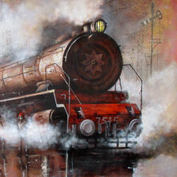 nostalgia of steam locomotives  16, 48 x 36 inch, kishore pratim biswas,48x36inch,canvas,paintings,cityscape paintings,landscape paintings,modern art paintings,impressionist paintings,paintings for dining room,paintings for living room,paintings for office,paintings for hotel,paintings for school,acrylic color,GAL0106032125