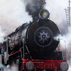nostalgia of steam locomotives 24, 48 x 38 inch, kishore pratim biswas,48x38inch,canvas,paintings,cityscape paintings,landscape paintings,modern art paintings,impressionist paintings,street art,paintings for dining room,paintings for living room,paintings for office,paintings for hotel,paintings for school,acrylic color,GAL0106032127