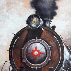 nostalgia of steam locomotives 36, 24 x 60 inch, kishore pratim biswas,24x60inch,canvas,paintings,cityscape paintings,landscape paintings,modern art paintings,impressionist paintings,street art,paintings for dining room,paintings for living room,paintings for office,paintings for hotel,paintings for school,acrylic color,GAL0106032128