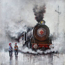 nostalgia of steam locomotives 06, 44 x 33 inch, kishore pratim biswas,44x33inch,canvas,paintings,cityscape paintings,landscape paintings,modern art paintings,conceptual paintings,impressionist paintings,street art,paintings for dining room,paintings for living room,paintings for office,paintings for hotel,paintings for school,acrylic color,GAL0106032129