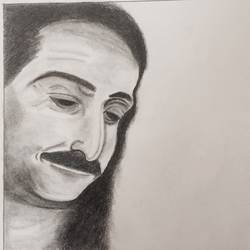 meher baba 03, 11 x 9 inch, p sisira,abstract drawings,paintings for living room,religious paintings,thick paper,charcoal,11x9inch,GAL011603213