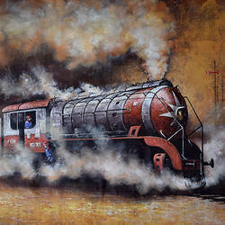 nostalgia of steam locomotives 45, 60 x 36 inch, kishore pratim biswas,60x36inch,canvas,paintings,cityscape paintings,landscape paintings,modern art paintings,impressionist paintings,street art,contemporary paintings,paintings for dining room,paintings for living room,paintings for office,paintings for hotel,paintings for school,acrylic color,GAL0106032132