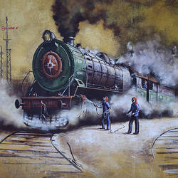 nostalgia of steam locomotives 46, 60 x 36 inch, kishore pratim biswas,60x36inch,canvas,paintings,cityscape paintings,landscape paintings,modern art paintings,conceptual paintings,impressionist paintings,street art,paintings for dining room,paintings for living room,paintings for office,paintings for hotel,paintings for school,acrylic color,GAL0106032133