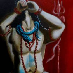 shiva smoking, 12 x 18 inch, shiuli majumder,12x18inch,canvas,paintings,religious paintings,lord shiva paintings,acrylic color,GAL01355232135