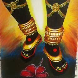 maha kali foot., 12 x 18 inch, shiuli majumder,12x18inch,canvas,paintings,religious paintings,acrylic color,GAL01355232136