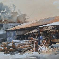 woodmart, 25 x 18 inch, bijay  biswaal,cityscape paintings,paintings for living room,gvarro paper,watercolor,25x18inch,GAL011743214