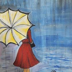 umbrella girl, 8 x 12 inch, sarika nathani,8x12inch,canvas,paintings,figurative paintings,acrylic color,GAL02047332141