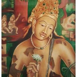 padmapani, 18 x 22 inch, santosh dangare,18x22inch,canvas,paintings,figurative paintings,religious paintings,portrait paintings,paintings for dining room,paintings for living room,paintings for bedroom,paintings for office,paintings for kids room,paintings for hotel,paintings for kitchen,paintings for school,paintings for hospital,acrylic color,GAL01969332143