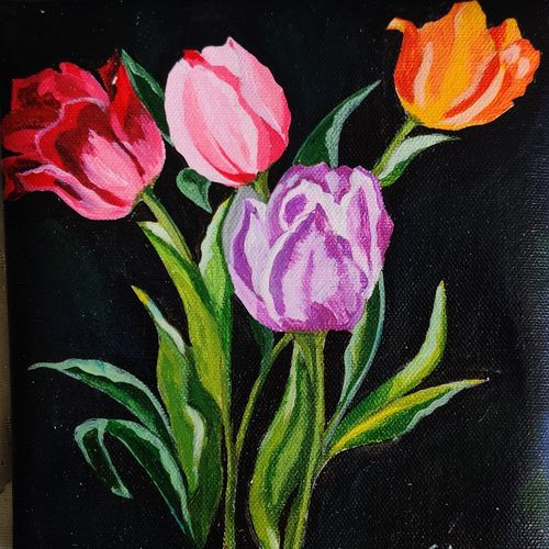 tulip , 7 x 7 inch, neha  gupta,7x7inch,canvas,paintings,abstract paintings,flower paintings,modern art paintings,still life paintings,nature paintings | scenery paintings,art deco paintings,pop art paintings,realism paintings,street art,surrealism paintings,contemporary paintings,realistic paintings,paintings for dining room,paintings for living room,paintings for bedroom,paintings for office,paintings for hotel,paintings for school,acrylic color,GAL02043232149