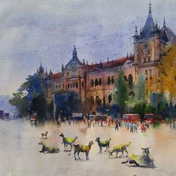 bombay village ii, 29 x 22 inch, bijay  biswaal,cityscape paintings,paintings for living room,handmade paper,watercolor,29x22inch,GAL011743215