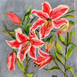 red lily's , 7 x 7 inch, neha  gupta,7x7inch,canvas,abstract paintings,flower paintings,still life paintings,abstract expressionism paintings,art deco paintings,impressionist paintings,photorealism paintings,photorealism,pop art paintings,realism paintings,street art,surrealism paintings,contemporary paintings,love paintings,paintings for dining room,paintings for living room,paintings for bedroom,paintings for office,paintings for bathroom,paintings for kids room,paintings for hotel,paintings for kitchen,paintings for school,paintings for hospital,paintings for dining room,paintings for living room,paintings for bedroom,paintings for office,paintings for bathroom,paintings for kids room,paintings for hotel,paintings for kitchen,paintings for school,paintings for hospital,acrylic color,GAL02043232150