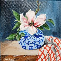 magnolia  , 6 x 6 inch, neha  gupta,6x6inch,canvas board,paintings,flower paintings,still life paintings,realism paintings,surrealism paintings,paintings for dining room,paintings for living room,paintings for bedroom,paintings for office,paintings for bathroom,paintings for kids room,paintings for hotel,paintings for kitchen,paintings for school,paintings for hospital,acrylic color,GAL02043232155
