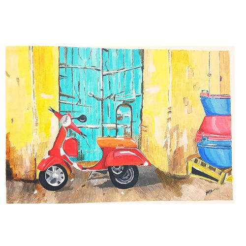 lonely scooter, 10 x 14 inch, neha  gupta,10x14inch,canvas,paintings,abstract paintings,modern art paintings,conceptual paintings,still life paintings,nature paintings   scenery paintings,pop art paintings,realism paintings,street art,paintings for dining room,paintings for living room,paintings for bedroom,paintings for office,paintings for bathroom,paintings for hotel,acrylic color,GAL02043232165