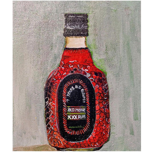 old monk, 6 x 6 inch, neha  gupta,6x6inch,canvas board,paintings,still life paintings,expressionism paintings,photorealism paintings,pop art paintings,realism paintings,surrealism paintings,paintings for dining room,paintings for living room,paintings for office,paintings for hotel,paintings for kitchen,acrylic color,GAL02043232167