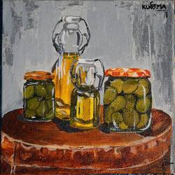 olives in jar, 6 x 6 inch, neha  gupta,6x6inch,canvas board,paintings,modern art paintings,still life paintings,realism paintings,surrealism paintings,paintings for dining room,paintings for living room,paintings for hotel,paintings for kitchen,acrylic color,GAL02043232168