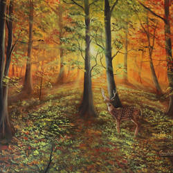 deer in forest sunlight, 30 x 20 inch, goutami mishra,30x20inch,canvas,paintings,wildlife paintings,landscape paintings,nature paintings | scenery paintings,photorealism paintings,photorealism,realism paintings,animal paintings,realistic paintings,paintings for dining room,paintings for living room,paintings for bedroom,paintings for office,paintings for kids room,paintings for hotel,paintings for school,oil color,GAL046532173