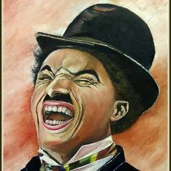 charlie chaplin, 15 x 22 inch, manasri biswas,15x22inch,canvas board,paintings,expressionism paintings,portraiture,paintings for dining room,paintings for living room,paintings for office,paintings for kids room,paintings for hotel,paintings for hospital,oil color,GAL02054132174