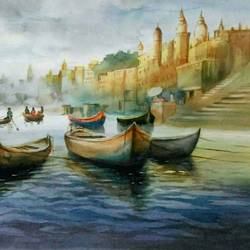 near benaras ghat, 22 x 14 inch, sutapa paul,22x14inch,fabriano sheet,paintings,cityscape paintings,landscape paintings,religious paintings,still life paintings,nature paintings | scenery paintings,minimalist paintings,photorealism paintings,realism paintings,surrealism paintings,contemporary paintings,miniature painting.,paintings for dining room,paintings for living room,paintings for bedroom,paintings for office,paintings for dining room,paintings for living room,paintings for bedroom,paintings for office,watercolor,GAL01798832180