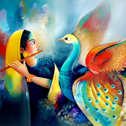 enchant 8, 60 x 48 inch, sanjay  tandekar ,60x48inch,canvas,paintings,modern art paintings,contemporary paintings,love paintings,paintings for living room,paintings for bedroom,paintings for office,oil color,GAL0281032183