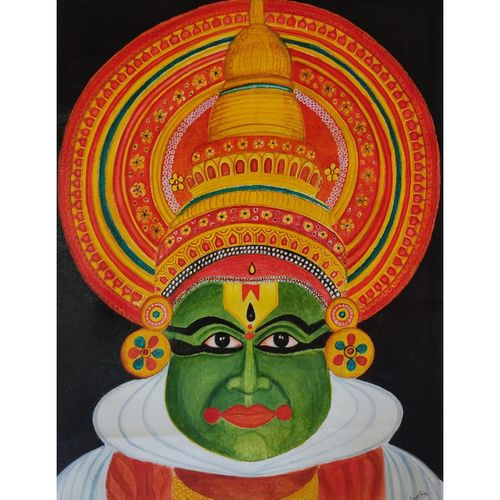 kathakali, 16 x 22 inch, vineetha ashok,16x22inch,canvas,paintings,folk art paintings,paintings for living room,paintings for living room,acrylic color,GAL02055232184