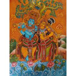 radha krishna, 16 x 22 inch, vineetha ashok,16x22inch,canvas,paintings,religious paintings,radha krishna paintings,kerala murals painting,paintings for dining room,paintings for living room,paintings for office,paintings for school,acrylic color,GAL02055232185