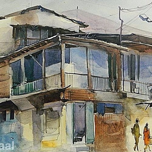 wild house in mahal, 16 x 11 inch, bijay  biswaal,cityscape paintings,paintings for living room,paper,watercolor,16x11inch,GAL011743219