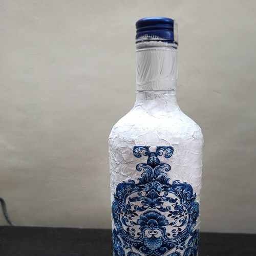 decoupage art bottle painting, 4 x 13 inch, ridhi sharma,4x13inch,drawing paper,handicrafts,vases,pottery,acrylic color,fabric,glass,paper,GAL02055932193