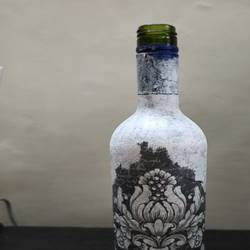 decoupage art bottle painting, 4 x 13 inch, ridhi sharma,4x13inch,drawing paper,handicrafts,vases,pottery,acrylic color,enamel color,glass,paper,GAL02055932195