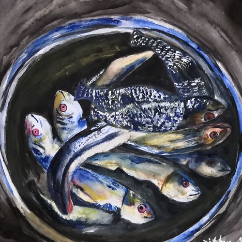 fishes, 12 x 17 inch, nithya  nair,12x17inch,paper,paintings,still life paintings,paintings for dining room,paintings for living room,paintings for office,paintings for hotel,paintings for kitchen,watercolor,GAL02045732197