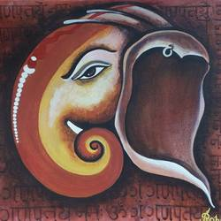 the mighty lord , 16 x 20 inch, sameer bhavsar,16x20inch,canvas,religious paintings,expressionism paintings,realism paintings,ganesha paintings | lord ganesh paintings,paintings for living room,paintings for office,paintings for living room,paintings for office,acrylic color,GAL0877832198