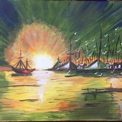 sunrise , 14 x 18 inch, sameer bhavsar,14x18inch,canvas board,cityscape paintings,landscape paintings,nature paintings | scenery paintings,paintings for living room,paintings for bedroom,paintings for office,paintings for hospital,paintings for living room,paintings for bedroom,paintings for office,paintings for hospital,acrylic color,GAL0877832199