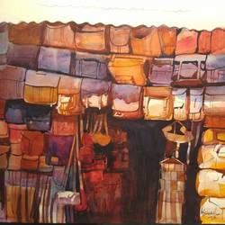 the bag house, 16 x 11 inch, bijay  biswaal,cityscape paintings,paintings for living room,paper,watercolor,16x11inch,GAL011743220