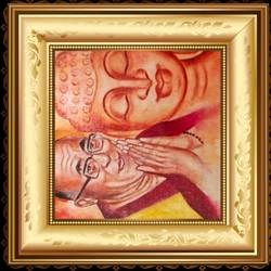 dalai lama with lord buddha, 18 x 14 inch, ajay mishra,18x14inch,canvas,buddha paintings,oil color,GAL02057232202