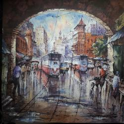 twins tram in kolkata-1, 22 x 22 inch, shubhashis mandal,22x22inch,handmade paper,paintings,landscape paintings,paintings for dining room,watercolor,GAL02057432203