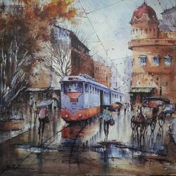 tram in kolkata-2, 22 x 22 inch, shubhashis mandal,22x22inch,handmade paper,paintings,landscape paintings,paintings for dining room,watercolor,GAL02057432205
