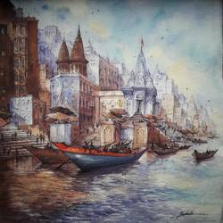 varanasi ghats-1, 22 x 22 inch, shubhashis mandal,22x22inch,handmade paper,paintings,landscape paintings,paintings for dining room,watercolor,GAL02057432207
