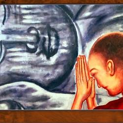 lama with lord buddha , 18 x 14 inch, ajay mishra,18x14inch,canvas,paintings,buddha paintings,oil color,GAL02057232208