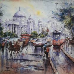 after the rain-1, 15 x 15 inch, shubhashis mandal,15x15inch,handmade paper,paintings,landscape paintings,paintings for dining room,watercolor,GAL02057432209