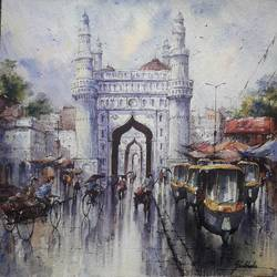 hyderabad-1, 15 x 15 inch, shubhashis mandal,15x15inch,handmade paper,paintings,landscape paintings,paintings for dining room,watercolor,GAL02057432210