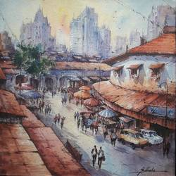 city view-1, 15 x 15 inch, shubhashis mandal,15x15inch,handmade paper,paintings,landscape paintings,paintings for dining room,watercolor,GAL02057432211