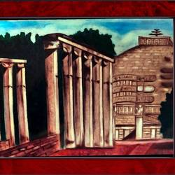 sanchi stupa , 22 x 16 inch, ajay mishra,22x16inch,canvas,paintings,religious paintings,oil color,GAL02057232212