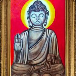 lord buddha , 22 x 16 inch, ajay mishra,22x16inch,canvas,paintings,buddha paintings,oil color,GAL02057232213