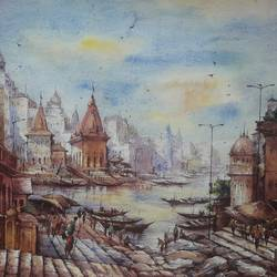 varanasi series-2, 22 x 15 inch, shubhashis mandal,22x15inch,handmade paper,paintings,landscape paintings,paintings for dining room,watercolor,GAL02057432215