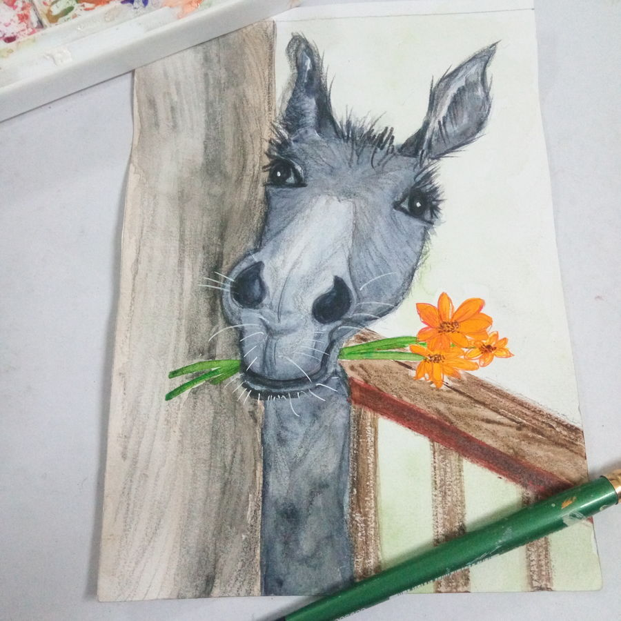 cute donkey, 6 x 8 inch, deepti agrawal,6x8inch,cartridge paper,paintings,wildlife paintings,figurative paintings,expressionism paintings,animal paintings,contemporary paintings,horse paintings,children paintings,kids paintings,paintings for living room,paintings for kids room,paintings for school,paintings for hospital,watercolor,GAL0596832216