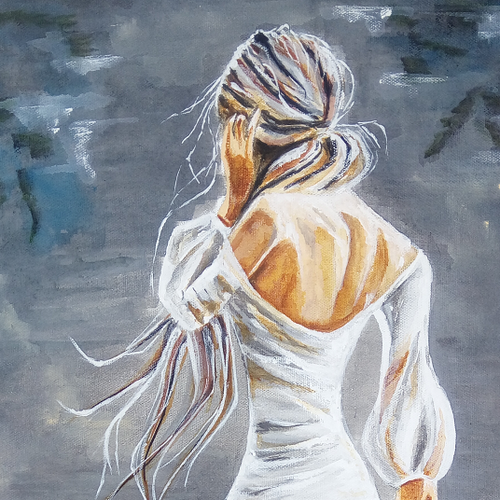 lady painting, 12 x 24 inch, dhanashree kadwe,12x24inch,canvas,portrait paintings,paintings for living room,paintings for living room,acrylic color,GAL02036832218
